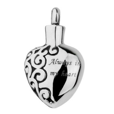 Always in my heart Stainless Steel Heart Cremation Urn Memorial Pendant PK