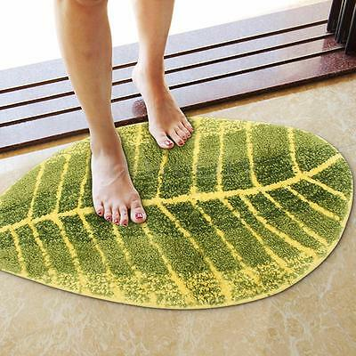 Leaf Shaped Bath Mat Non-slip Washable Floor Rug Carpet For Kitchen Bathroom New