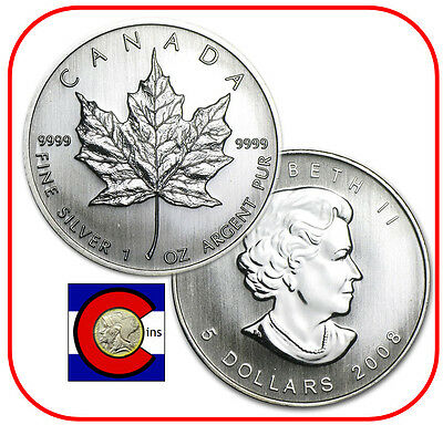 2008 Canada 1 oz Silver Maple Leaf Roll -- 25 Canadian Coins in Tube