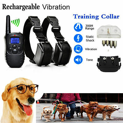 Rechargeable Electric Shock Collar 2 Dogs Training Remote Control Anti-Bark FS