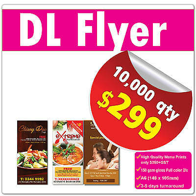 10,000 qty /Flyer Printing / Full Color / DL size/ 150 GSM gloss/ Brochure print
