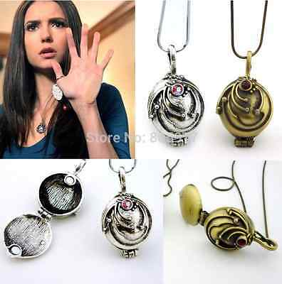 The Vampire Diaries Elena's Vervain Antique Locket Vintage Necklace Silver Coppe