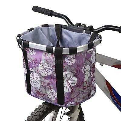 Bicycle Bike Pet Carrier Cycling Detachable Front Canvas Basket Bag New C5V5