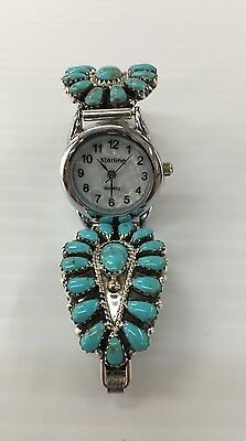Native American Sterling Silver Cluster Turquoise Leides Watch