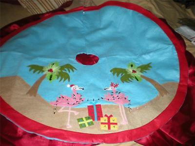 Tropical Pink Flamingo Decorating Christmas Tree Skirt 4 Ft Round Pink  Border
