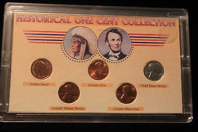 Abraham Lincoln Historical One Cent Collection Of 5 (1906 Indian Head Penny)