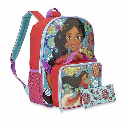 """Disney Elana of Avalor 16"""" Backpack with Lunch Bag and Pouch"""