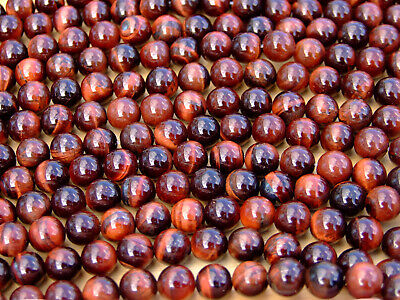 Red Tigers Eye Natural Gemstone Round Beads 8mm Jewellery Making (47-50 Beads)