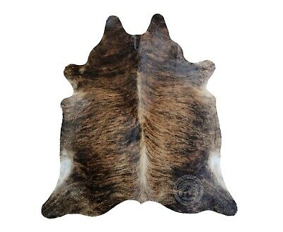 New Argentinian COWHIDE RUG Dark Brindle Leather Cow Hide Cow Skin Cowskin