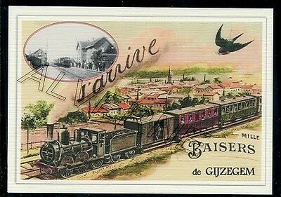 GIJZEGEM - TRAIN .... carte postale souvenir creation moderne serie numerotee
