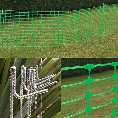 Green Plastic Mesh Barrier Safety Fence Netting 50m 20 pins Event Garden Project