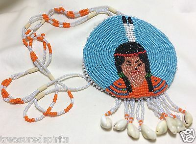 Native American Columbia River Plateau Inland Pacific NW Beaded Pendant, VTG