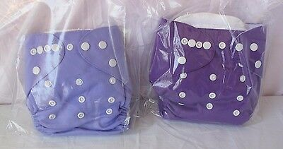 Alva Baby 2pcs Pack Pocket Washable Adjustable Cloth Diaper W/ 2 Inserts Each