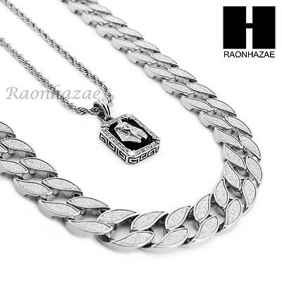 """Mens Iced Out Cuban Link 30"""" Chain / King-Tut Pendant 24"""" Rope Necklace Set Ss37"""
