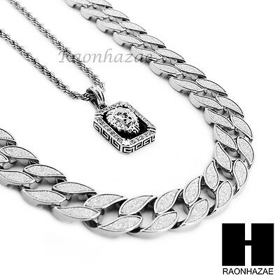 """Mens Iced Out Cuban Link 30"""" Chain / Lion Pendant 24"""" Rope Necklace Set Ss039"""