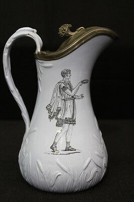 1850's English Ceramic Syrup With Pewter Lid; Grecian Style by T. Till