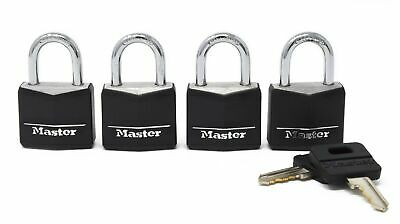Master Lock 131Q Weatherproof Black Covered Brass Padlock 4-Pack 1