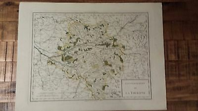 VERY NICE, ANTIQUE Hand Colored map of Touraine, France - P. Tardieu, c.1790