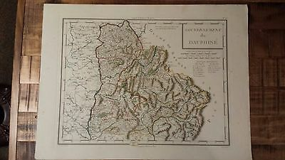 VERY NICE, ANTIQUE Hand Colored map of Dauphine, France - P. Tardieu, c.1790