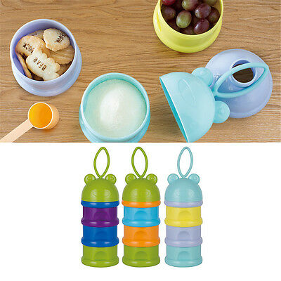 NEW Portable 3 Grid Box Baby Milk Powder Box Fruit Biscuit Box Container Snack