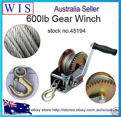 600lb Heavy Duty Hand Crank Cable Gear Winch for Boat Truck Car Trailer ATV45194