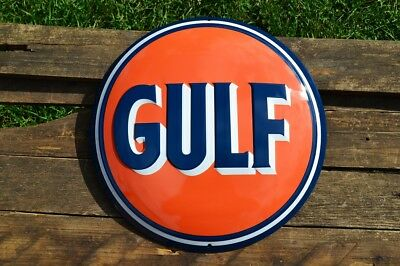Gulf Oil Corporation Embossed Tin Metal Sign - Gasoline - Vintage - Retro