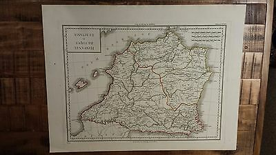 VERY NICE, ANTIQUE Hand Colored map of Baetica, Spain - P. Tardieu, c.1790