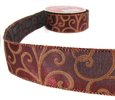 10 yds dark red copper swirl christmas wired ribbon 1 12w