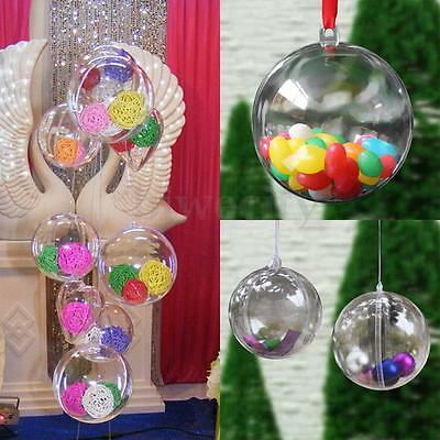 10-100Pcs Plastic Clear Round Ball Bauble Gift Christmas Tree Decor Ornaments