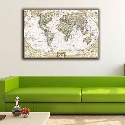 Framed Canvas Prints Stretched Vintage World Map Wall Art Office Home Decor Gift