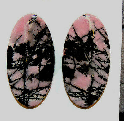 Pink Rhodonite Cabochons 30x15mm with 4.5mm dome set of 2 (10988)