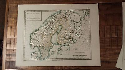 VERY NICE, ANTIQUE Hand Colored map of Modern Sweden - P. Tardieu, c.1790