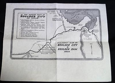 Boulder Dam Nevada Visitors Bulletin & Map Guide May 1947 Vintage Tourism