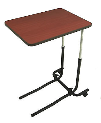 Adjustable Overbed Table with Wheels Tilting Wood Effect Over Chair With Castors