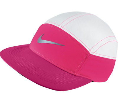 Womens Ladies Pink & White Nike Dri-Fit Running Sports Cap Hat With Zip Bnwt
