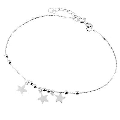 """Solid 925 Sterling Silver 8.5""""-9.5"""" Sliding Ball Bead & Star Anklet (Ankle/Foot)"""
