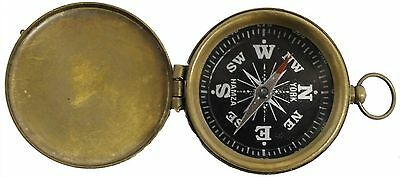 Brass Pocket Compass with Cover and Antique Finish New Free Shipping