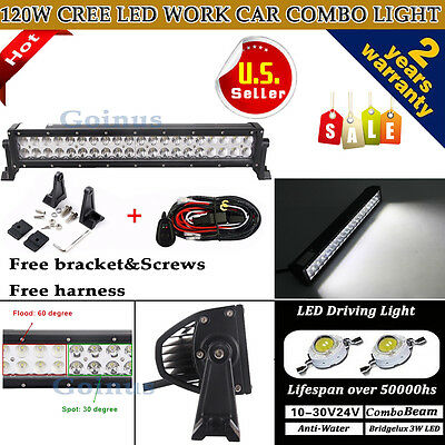 24 inch 120W Flood Spot Combo Led Work Light Bar 4WD UTE OFFROAD SUV ATV +Wiring