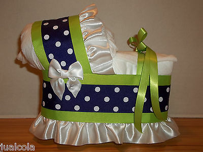Purple Lime Green Girl Diaper Bassinet Carriage Baby Shower Centerpiece
