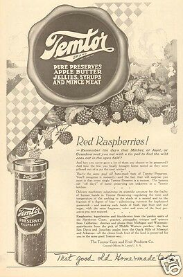 1920 antique TEMTOR Raspberry Preserve JAM JELLY Jar KITCHEN Food Fruit ART AD