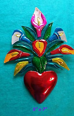 "Heart & Calla Lillies Mexican Handmade Painted Tin Milagro Art 7""x5"""