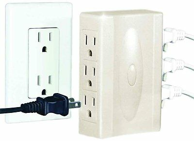 2 Multi Plug Outlet w/ Side Outlets Low Profile Wall Hugging Sideways Sockets