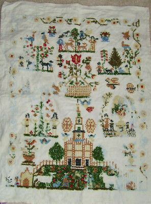 Sampler with flowers cross stitch embbroidery vintage church needs finished chic