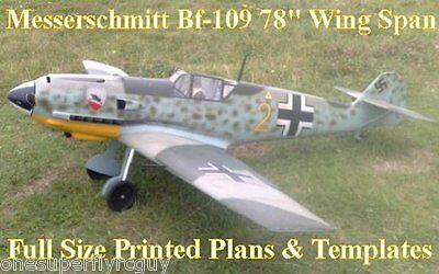 "Messerschmitt Bf-109 78"" WS Giant Scale RC Airplane PRINTED Plans & Templates"