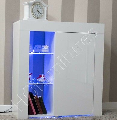 White Cupboard High Gloss Front - Matt Body Cupboard Cabinet Sideboard LED RGB