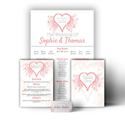 Personalised Heart Wedding Table Plan / Seating Plan Large A1 A2 A3 Print/Canvas