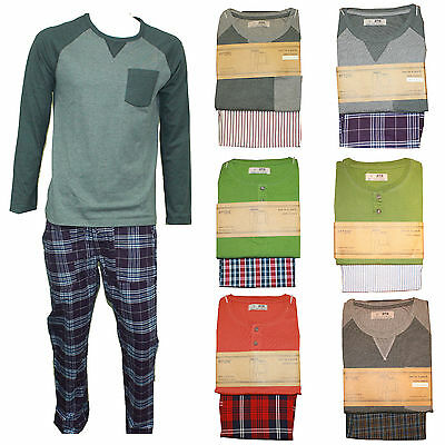 Mens Pyjamas Long Sleeve Nightwear Top Trousers Cotton Nighty Set Lounge