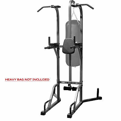 Tower Heavy Bag Stand Combo Deluxe Black Xmark Pull Up Dip Station New