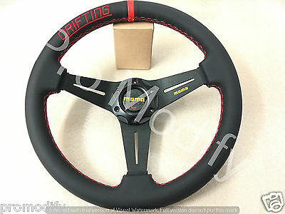 Universal MOMO Drifting Style Flat 350mm Leather Steering Wheel w/ Red Stitching