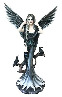 """Large Fairy Angel with Raven Crow Fantasy Large Figurine 24.5"""" Height Sculpture"""